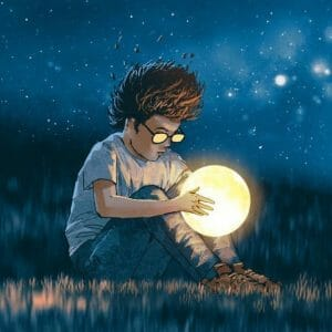 Child looking into a glowing ball exploring What is hypnosis